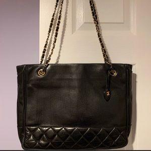 Chanel Vintage Black Leather Tote